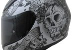 Casque moto tête de mort